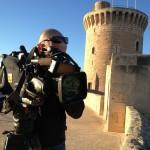 Markus Prumbaum, Dreharbeiten für die Postbank in Palma de Mallorca. Dezember 2013
