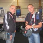 Die Gebrüder Markus und Clemens Prumbaum, Kameramänner, Dreharbeiten bei der Fußball-Europameisterschaft in Österreich und Schweiz 2008.