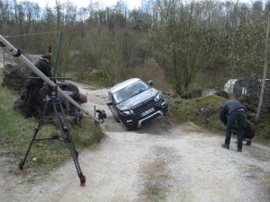 Dreharbeiten Doku Jutta Kleinschmidt, Testfahrten im Land Rover Experience Center Wülfrath, April 2012