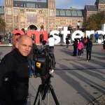Markus Prumbaum, Dreharbeiten für die Postbank in Amsterdam. November 2014